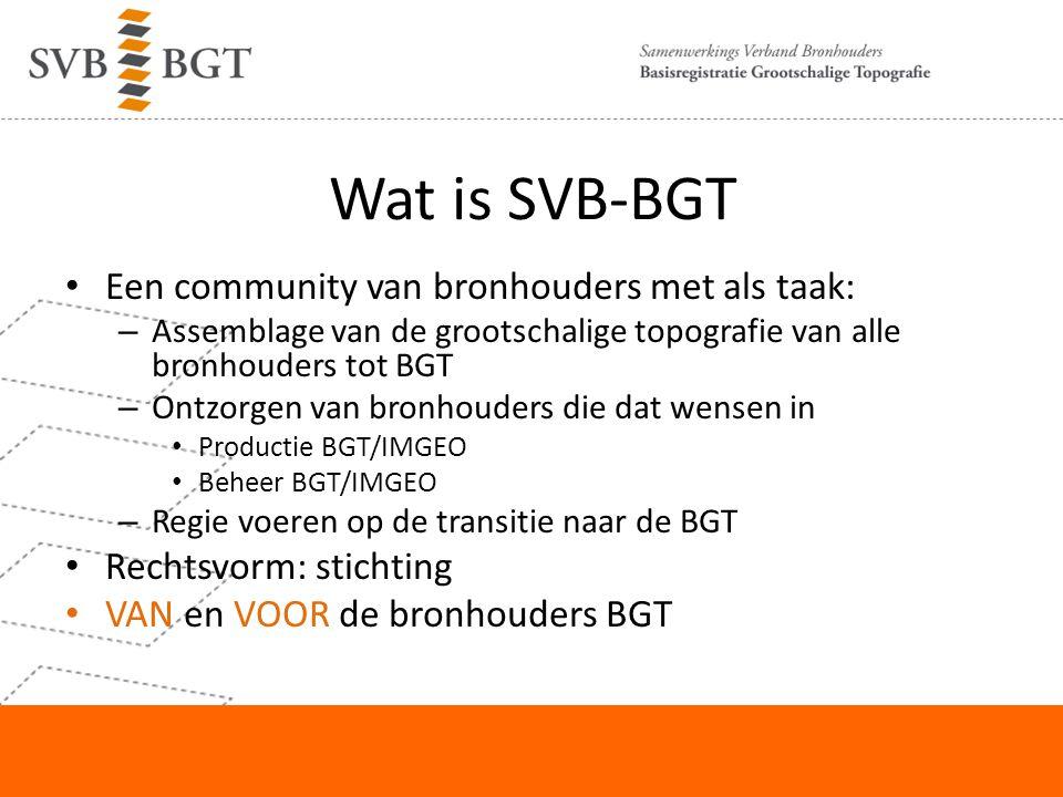 Wat is SVB-BGT Een community van bronhouders met als taak: