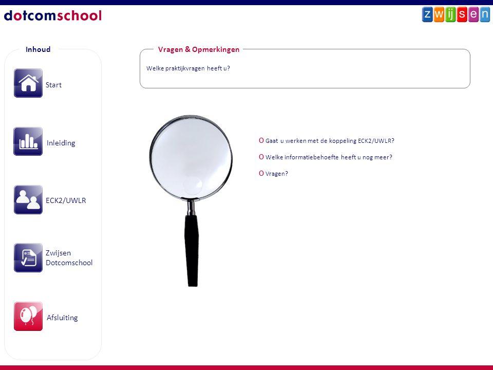 Inhoud Vragen & Opmerkingen Start Inleiding ECK2/UWLR Zwijsen