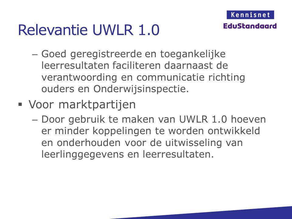Relevantie UWLR 1.0 Voor marktpartijen
