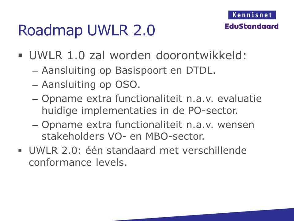 Roadmap UWLR 2.0 UWLR 1.0 zal worden doorontwikkeld: