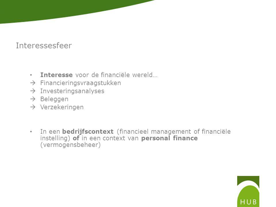 Interessesfeer Interesse voor de financiële wereld…