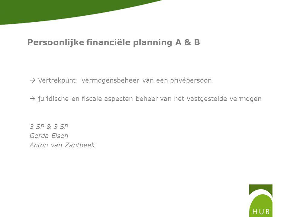 Persoonlijke financiële planning A & B