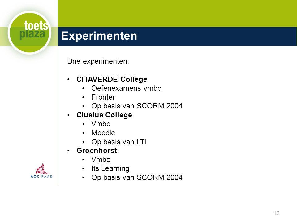 Experimenten Drie experimenten: CITAVERDE College Oefenexamens vmbo