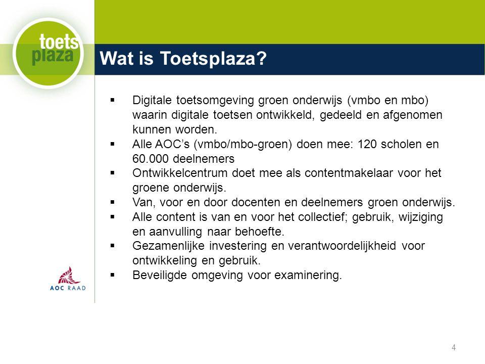 Wat is Toetsplaza Digitale toetsomgeving groen onderwijs (vmbo en mbo) waarin digitale toetsen ontwikkeld, gedeeld en afgenomen kunnen worden.