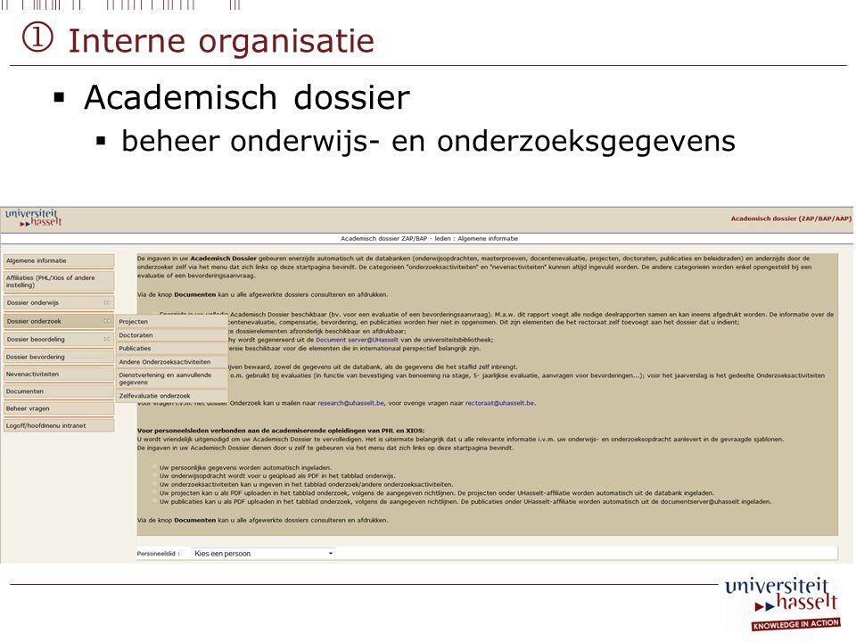  Interne organisatie Academisch dossier