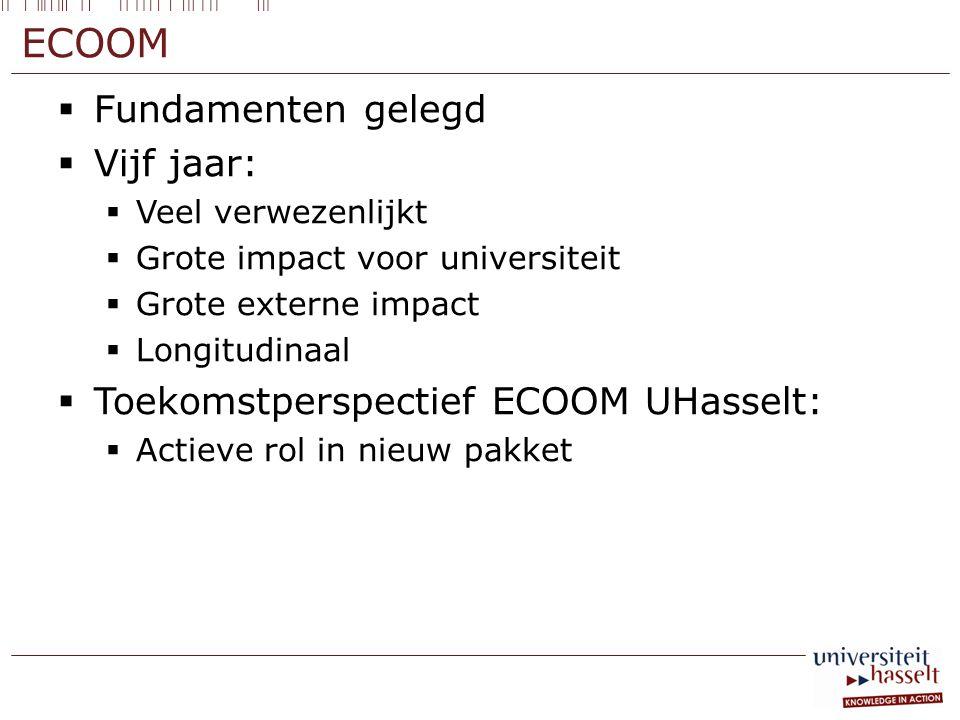 ECOOM Fundamenten gelegd Vijf jaar: