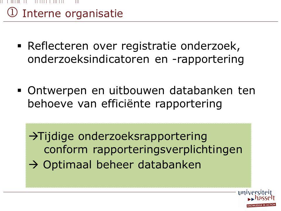  Interne organisatie Reflecteren over registratie onderzoek, onderzoeksindicatoren en -rapportering.