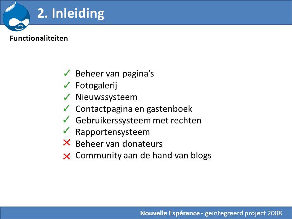 2. Inleiding Beheer van pagina's Fotogalerij Nieuwssysteem