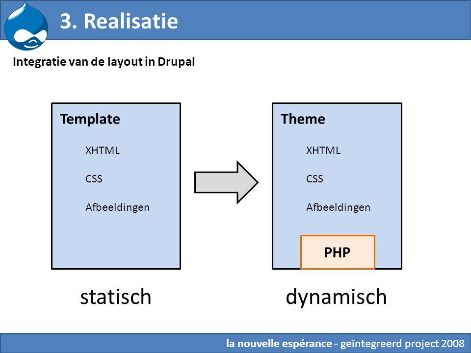 3. Realisatie statisch dynamisch 6. Theming Template Theme PHP