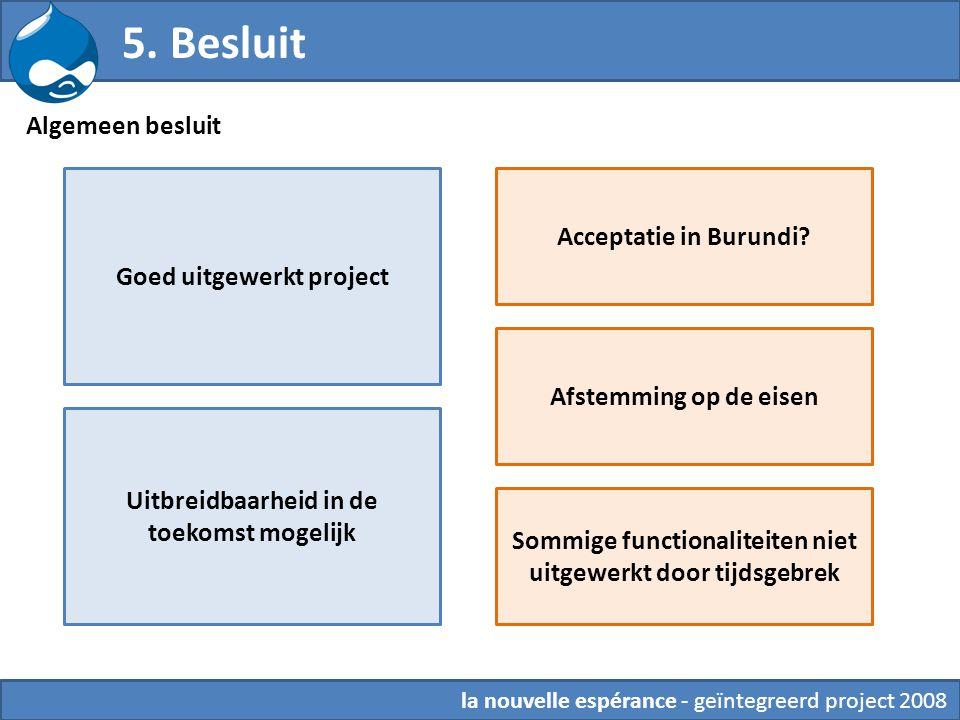 5. Besluit Algemeen besluit Acceptatie in Burundi