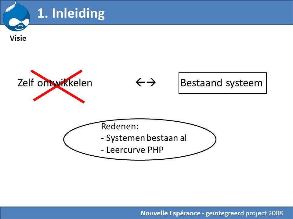 1. Inleiding Zelf ontwikkelen  Bestaand systeem Redenen: