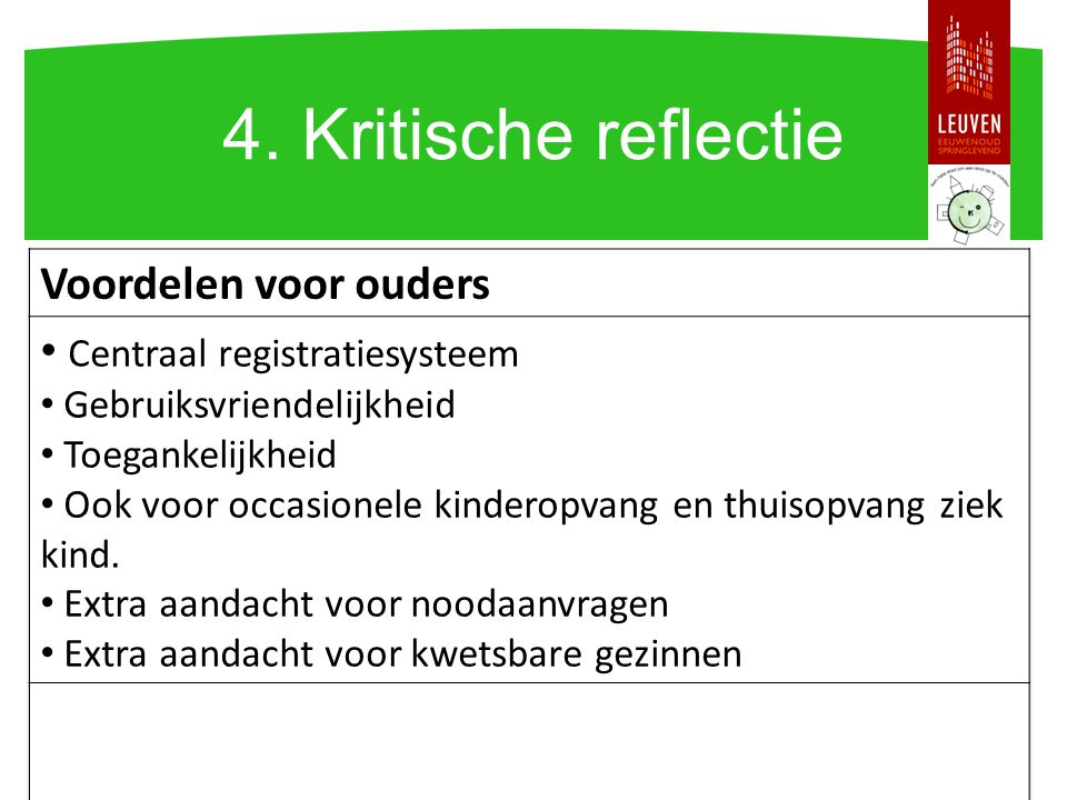4. Kritische reflectie Voordelen voor ouders