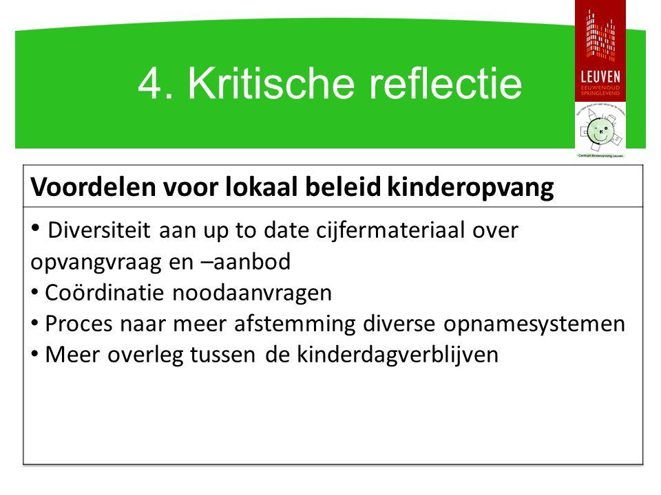 4. Kritische reflectie Voordelen voor lokaal beleid kinderopvang