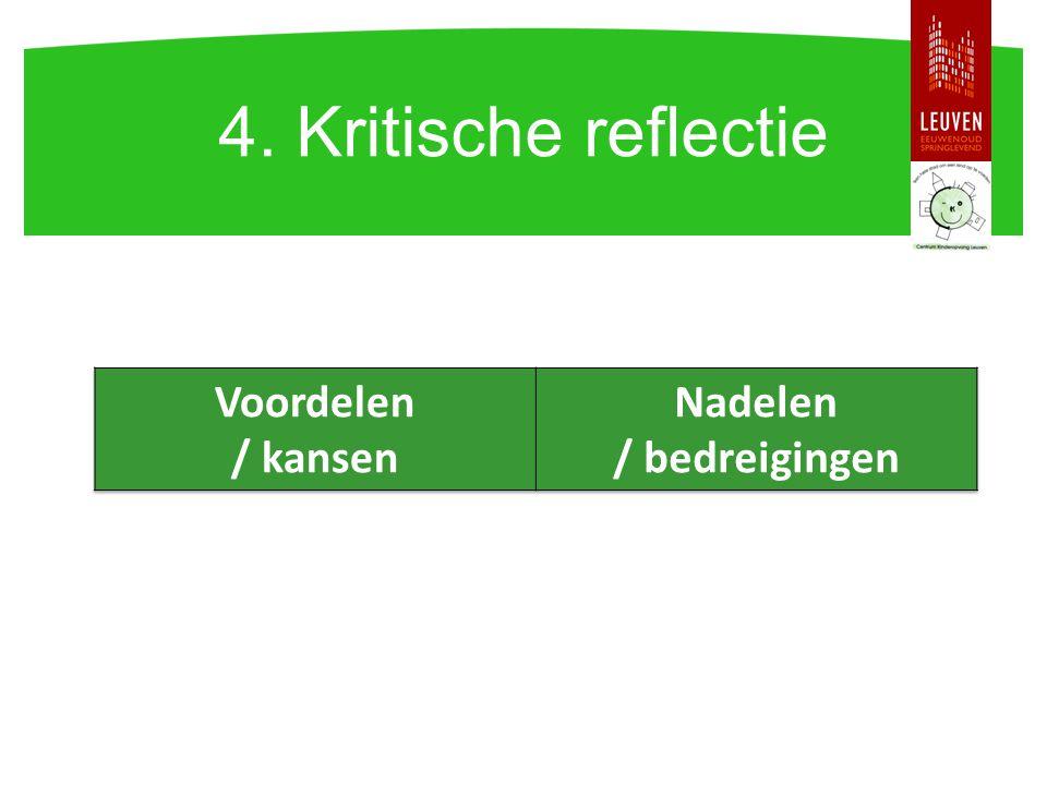 4. Kritische reflectie Voordelen / kansen Nadelen / bedreigingen