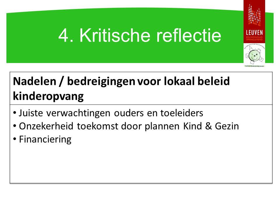 4. Kritische reflectie Nadelen / bedreigingen voor lokaal beleid kinderopvang. Juiste verwachtingen ouders en toeleiders.