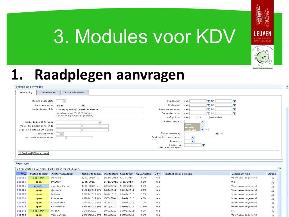 3. Modules voor KDV Raadplegen aanvragen