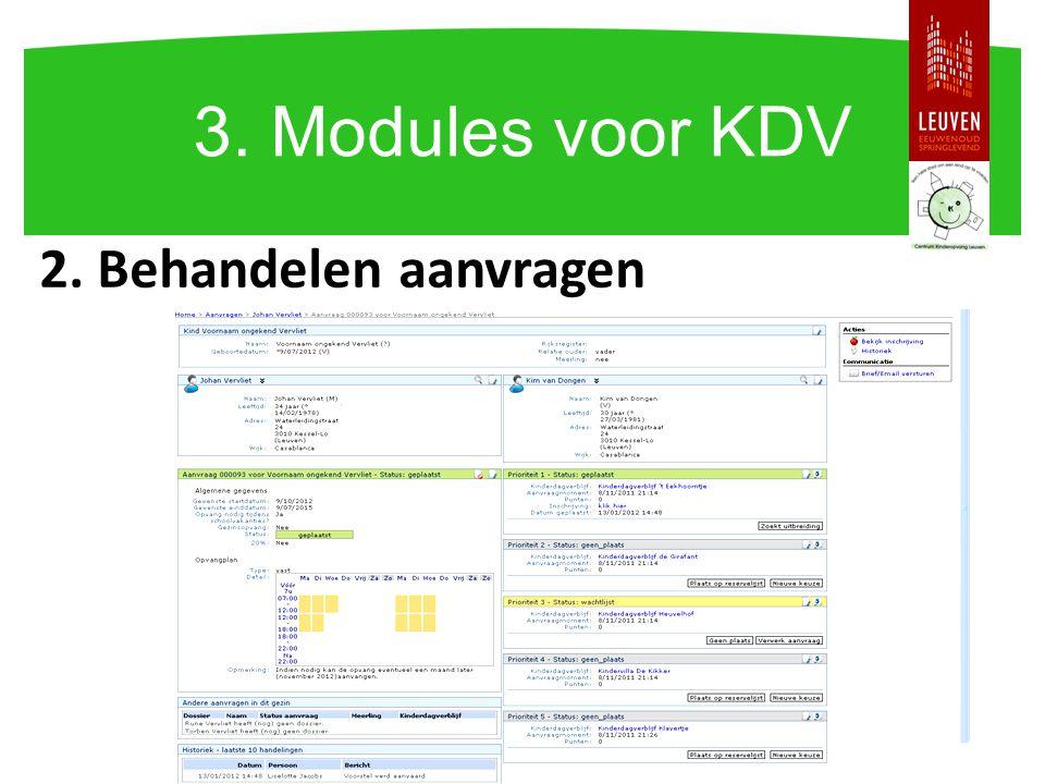3. Modules voor KDV 2. Behandelen aanvragen