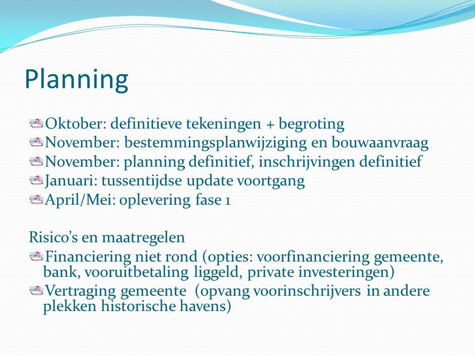 Planning Oktober: definitieve tekeningen + begroting