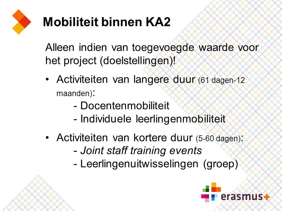 Mobiliteit binnen KA2 Alleen indien van toegevoegde waarde voor het project (doelstellingen)! Activiteiten van langere duur (61 dagen-12 maanden):