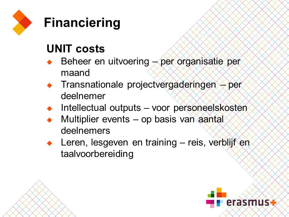 Financiering UNIT costs