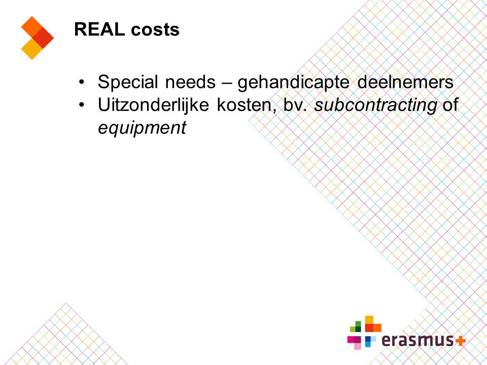 REAL costs Special needs – gehandicapte deelnemers.