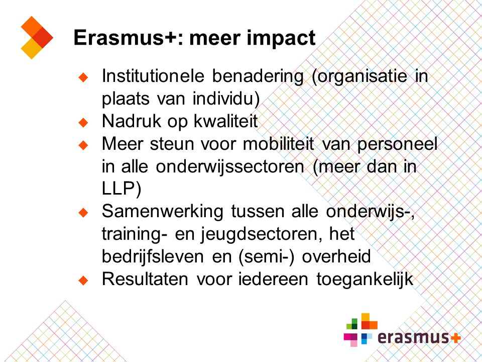 Erasmus+: meer impact Institutionele benadering (organisatie in plaats van individu) Nadruk op kwaliteit.