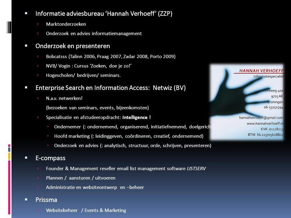 Informatie adviesbureau 'Hannah Verhoeff' (ZZP)