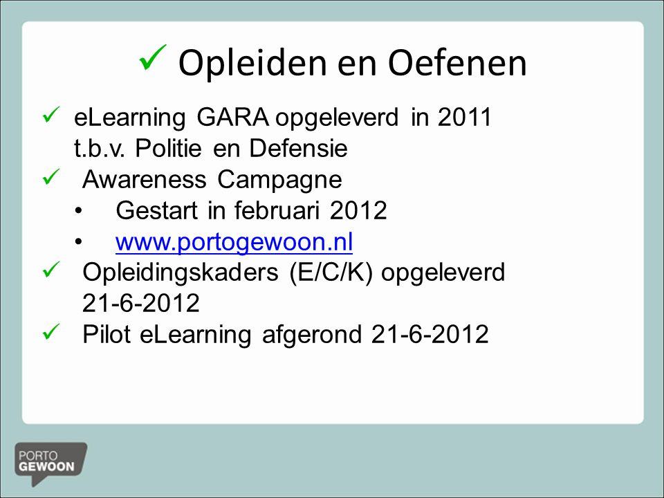 Opleiden en Oefenen eLearning GARA opgeleverd in 2011 t.b.v. Politie en Defensie. Awareness Campagne.
