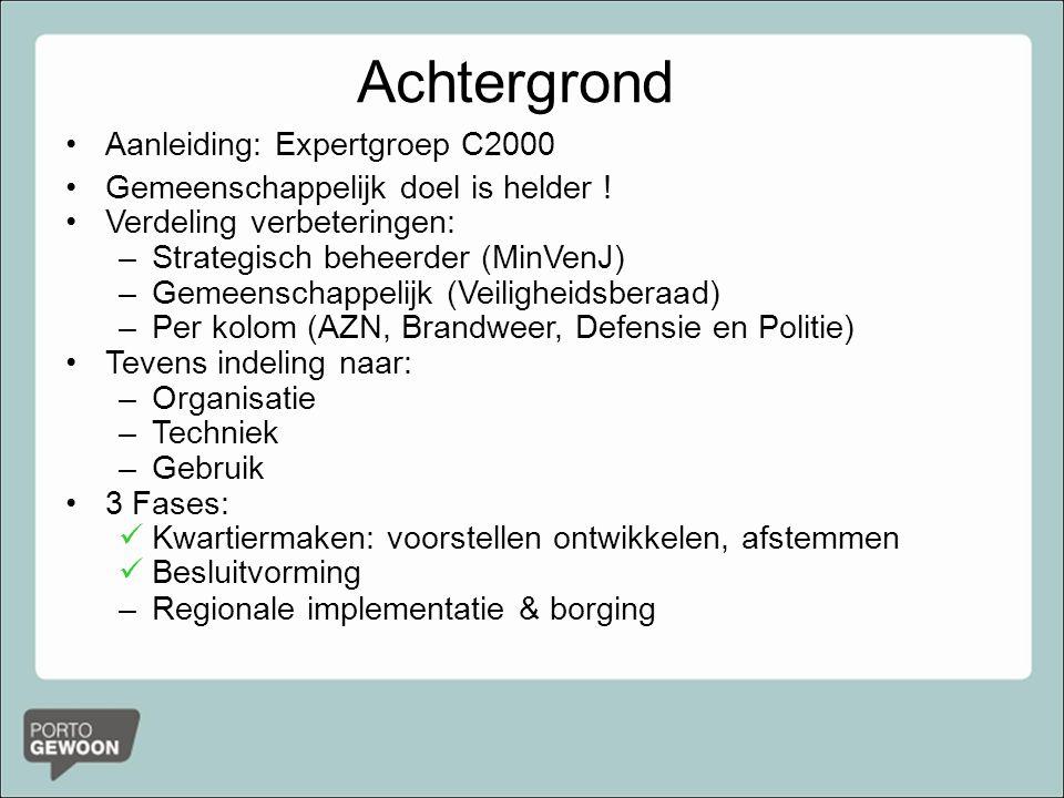 Achtergrond Aanleiding: Expertgroep C2000