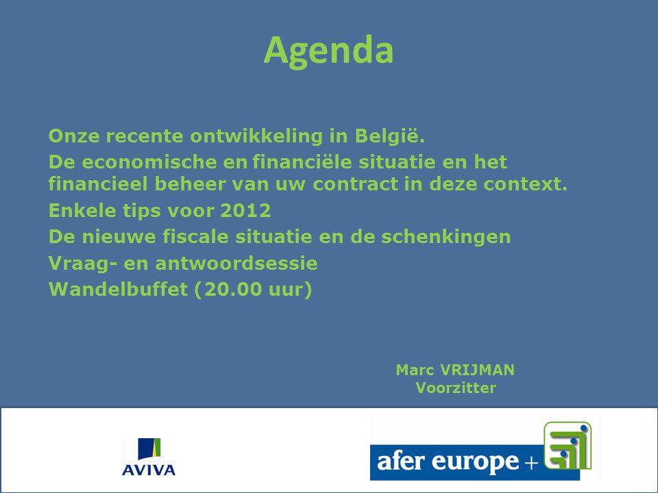 Agenda Onze recente ontwikkeling in België.
