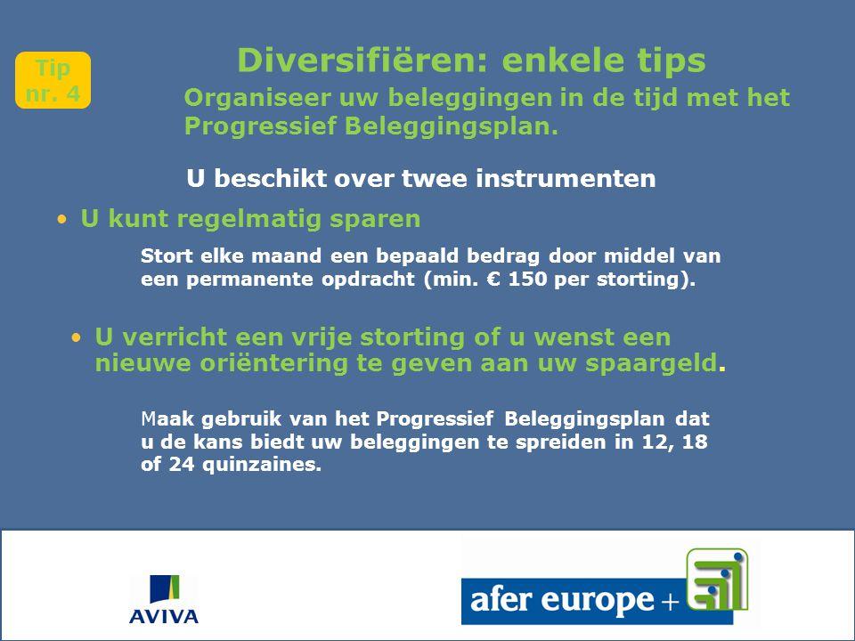 Diversifiëren: enkele tips U beschikt over twee instrumenten