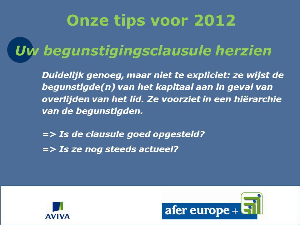 Onze tips voor 2012 Uw begunstigingsclausule herzien