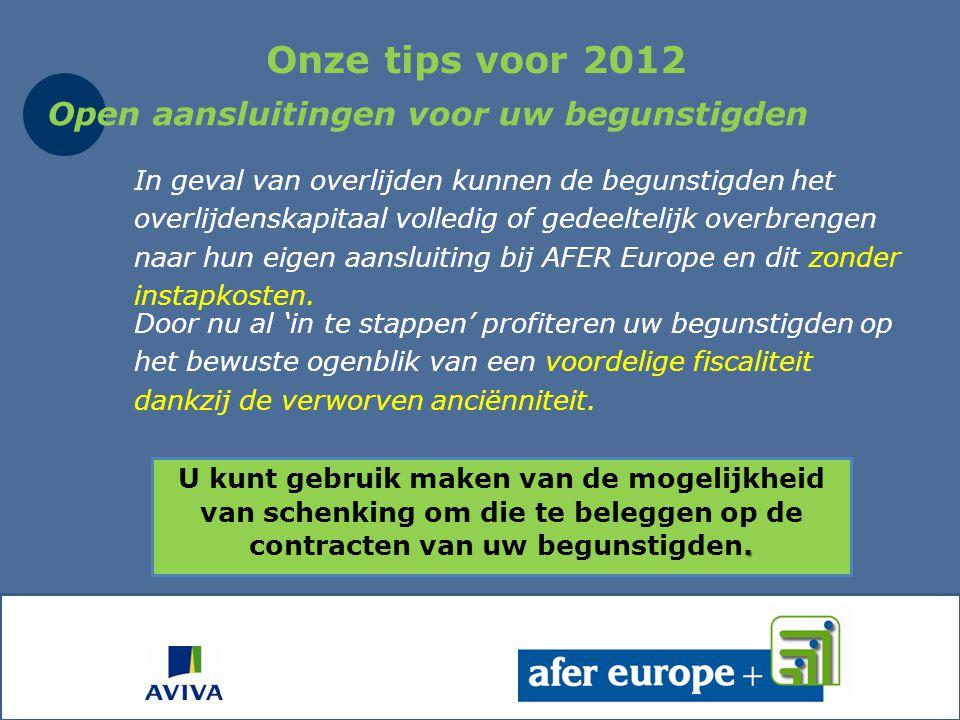 Onze tips voor 2012 Open aansluitingen voor uw begunstigden