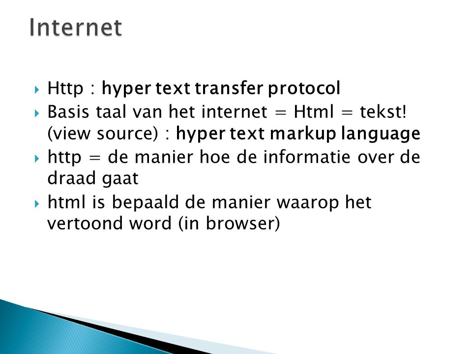 Internet Http : hyper text transfer protocol