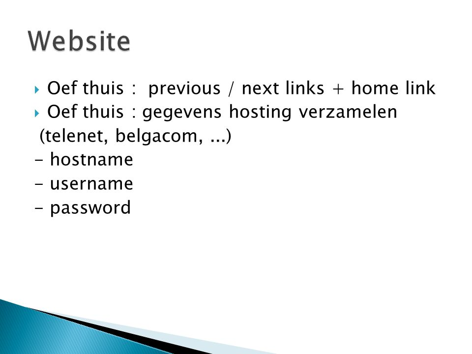 Website Oef thuis : previous / next links + home link