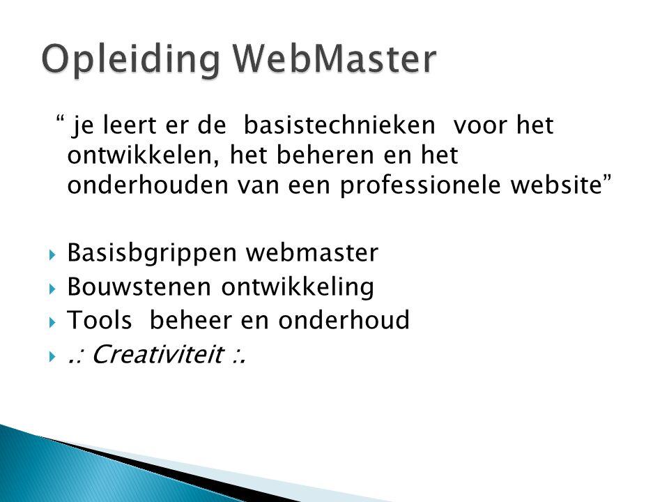 Opleiding WebMaster je leert er de basistechnieken voor het ontwikkelen, het beheren en het onderhouden van een professionele website