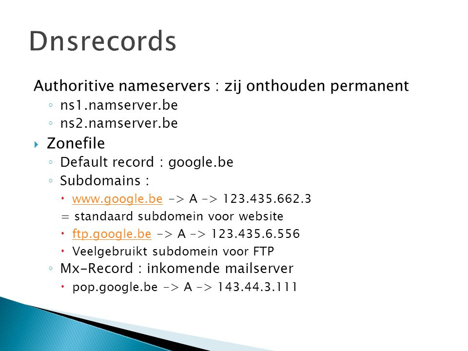 Dnsrecords Authoritive nameservers : zij onthouden permanent Zonefile