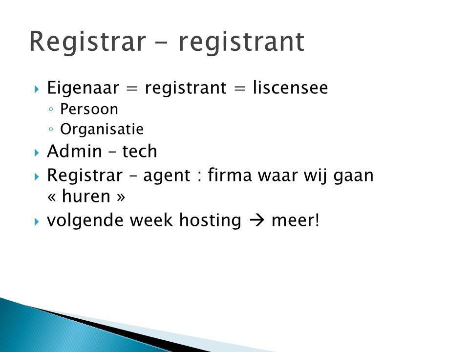 Registrar - registrant