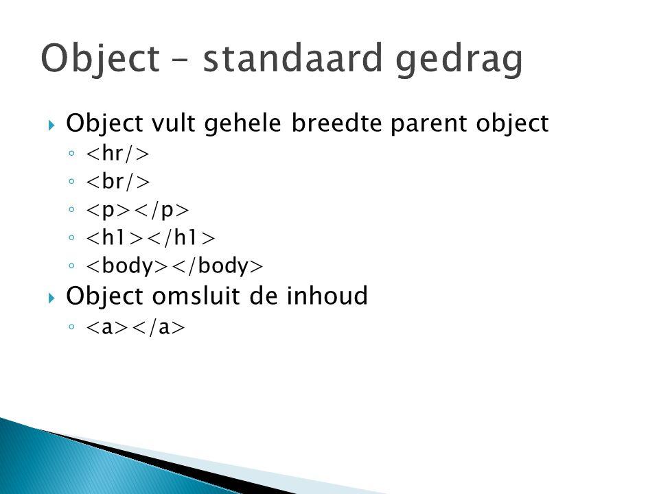 Object – standaard gedrag