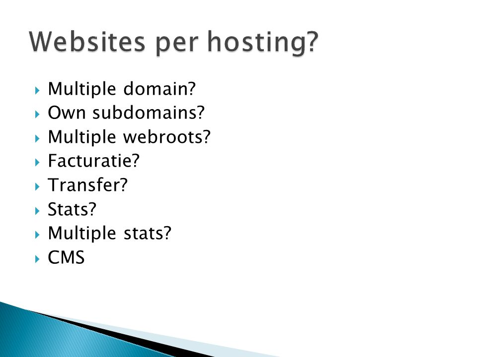 Websites per hosting Multiple domain Own subdomains