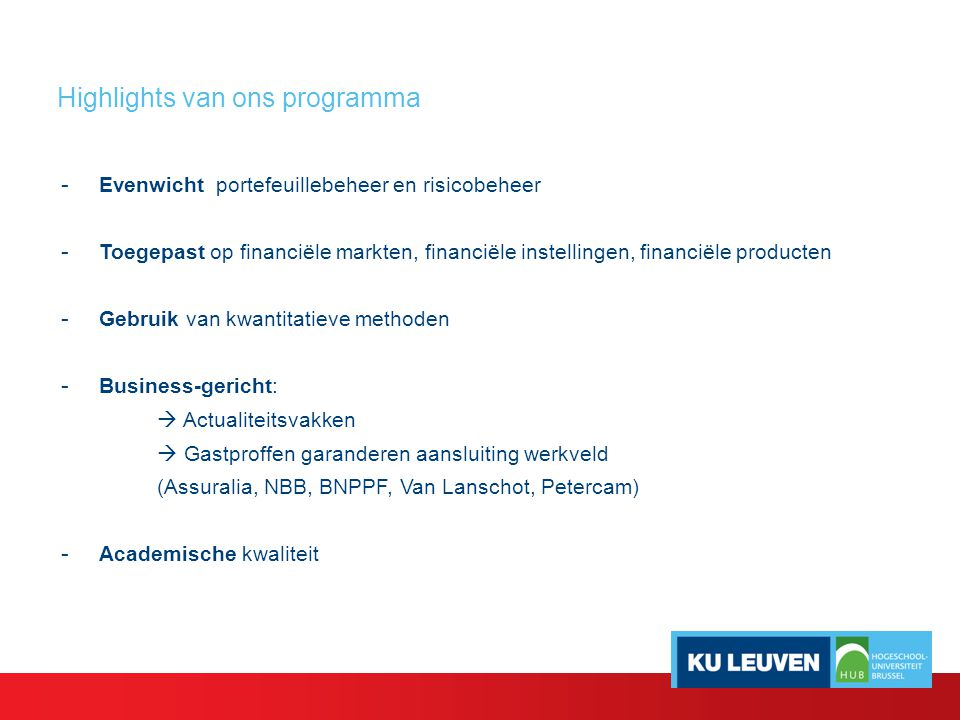 Highlights van ons programma