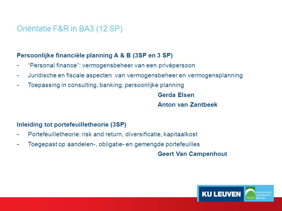 Oriëntatie F&R in BA3 (12 SP)