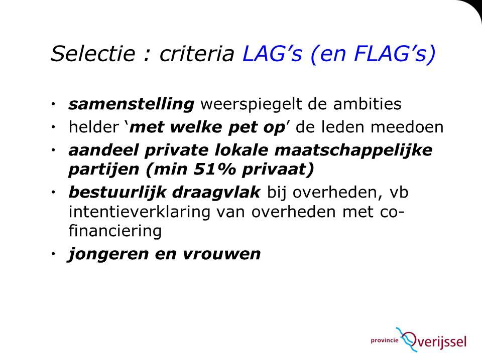Selectie : criteria LAG's (en FLAG's)