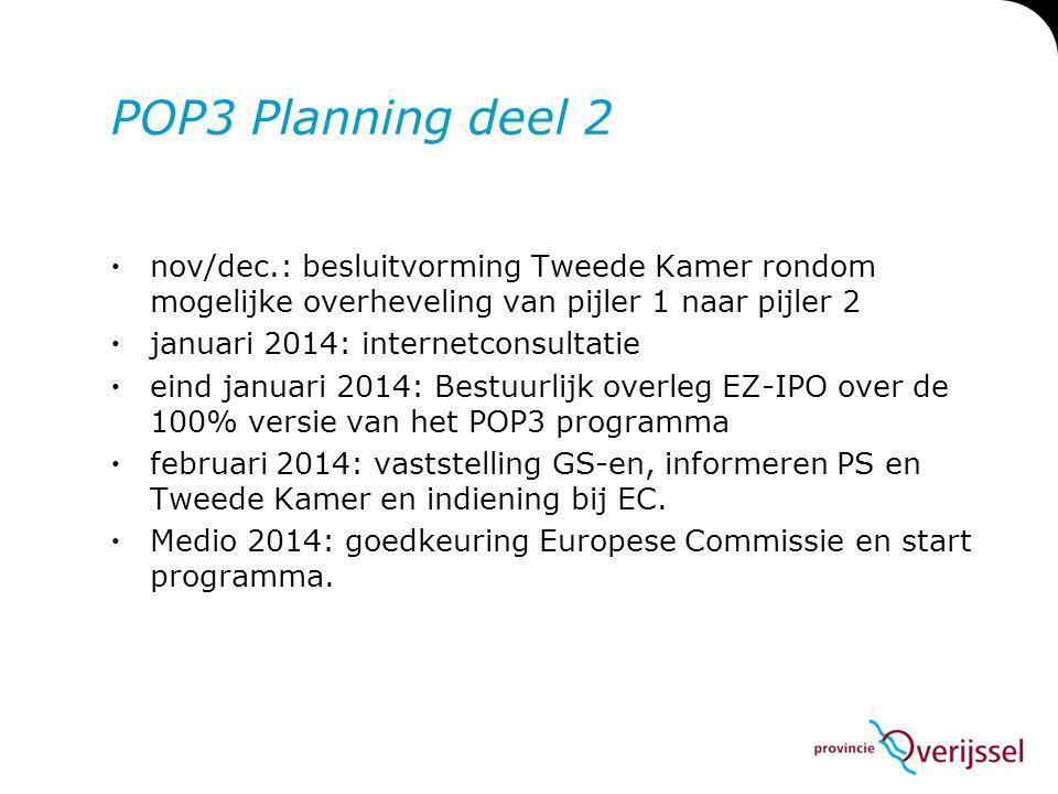 POP3 Planning deel 2 nov/dec.: besluitvorming Tweede Kamer rondom mogelijke overheveling van pijler 1 naar pijler 2.