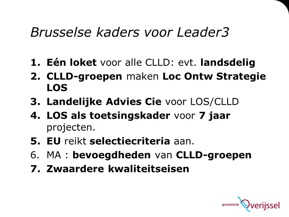 Brusselse kaders voor Leader3
