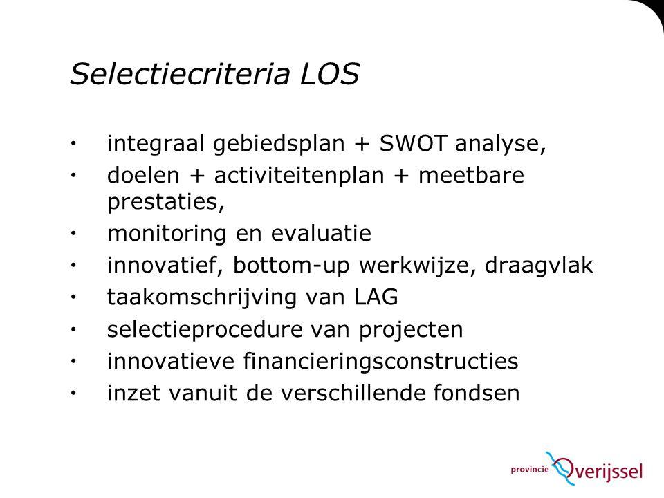 Selectiecriteria LOS integraal gebiedsplan + SWOT analyse,