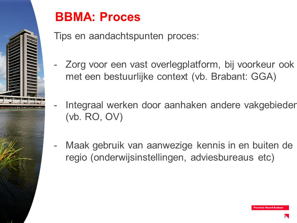 BBMA: Proces Tips en aandachtspunten proces: