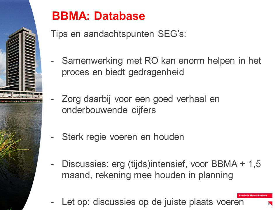 BBMA: Database Tips en aandachtspunten SEG's: