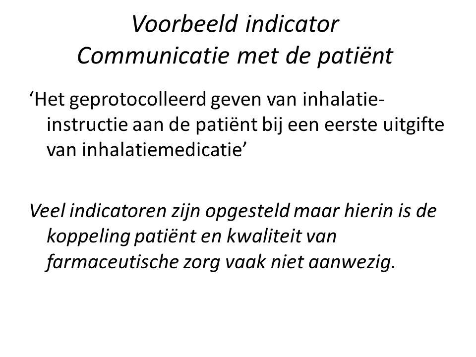 Voorbeeld indicator Communicatie met de patiënt
