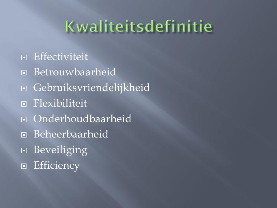 Kwaliteitsdefinitie Effectiviteit Betrouwbaarheid